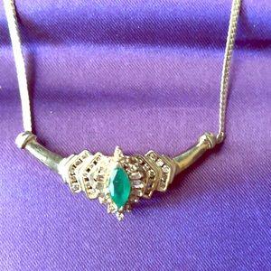 10 karat gold Emerald and diamond necklace